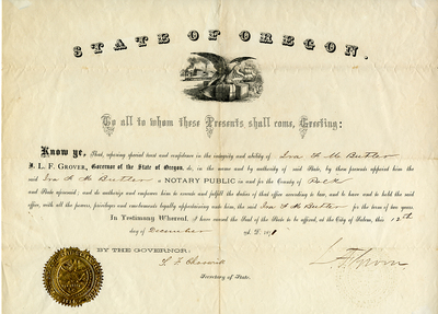 Ira F.M. Butler Notary Certificate