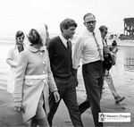 Robert F. Kennedy, Ethel Kennedy, and Robert W. Straub Walk Along the Coast