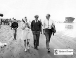 Robert F. Kennedy, Ethel Kennedy, and Robert W. Straub Walk Along the Oregon Coast